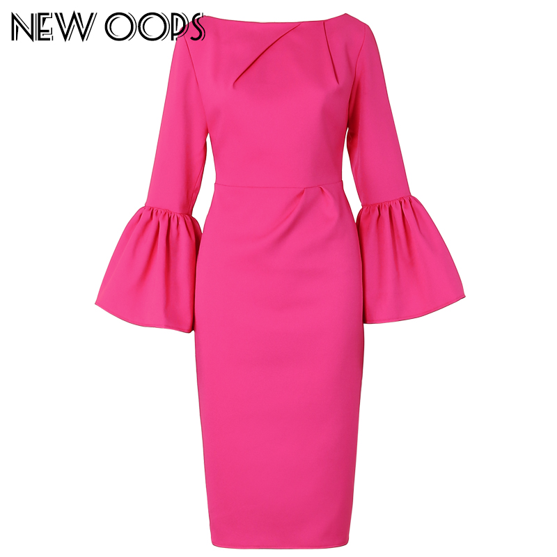 NEW OOPS 2016 Women High Waist Pencil Midi Dresses Elegant Puff Sleeve Ruched Party Slim Wiggle Sheath Plus Size Dress A1609031(China (Mainland))