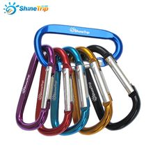 10Pcs ShineTrip Aluminum D Shape Buckle Carabiner Survial Key Chain Carabine Hook Clip Camping Equipment EDC Paracord Buckles(China (Mainland))