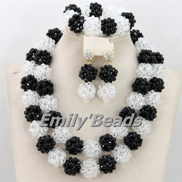 2015 New Arrival African Crystal Nigerian Wedding African Beads Necklaces Jewelry Set Black Costume Jewlery Free Shipping AMJ104(China (Mainland))
