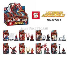 Wholesale 80pcs SY281 Super Heroes The Avengers Ultron Spiderman Minifigures Spider man Building Blocks Bricks Figures Baby Toys(China (Mainland))