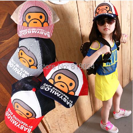 Полоска дети бейсбол кепка мальчики-младенцы девочки лето сетчатая ткань солнцезащитные головные уборы