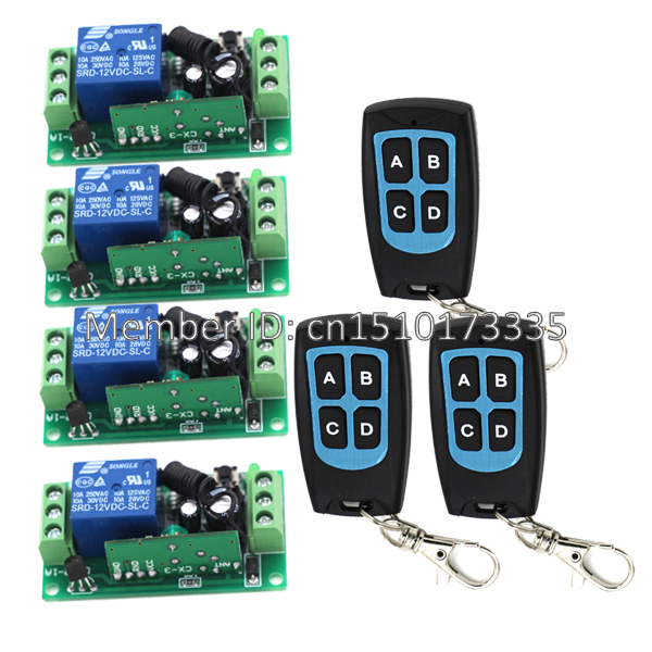 Power Switch Wireless Remote Control Switch System 3 transmitter & 4 receiver 315/433MHZ Auto door opener(China (Mainland))