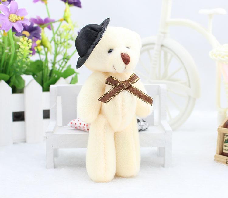 Free Shipping 12CM Men Black Hat Soft Toys Mini Teddy Bear,Cheap Teddy Bear,Kawaii Wholesale Mini Teddy Bear Toys For Children(China (Mainland))