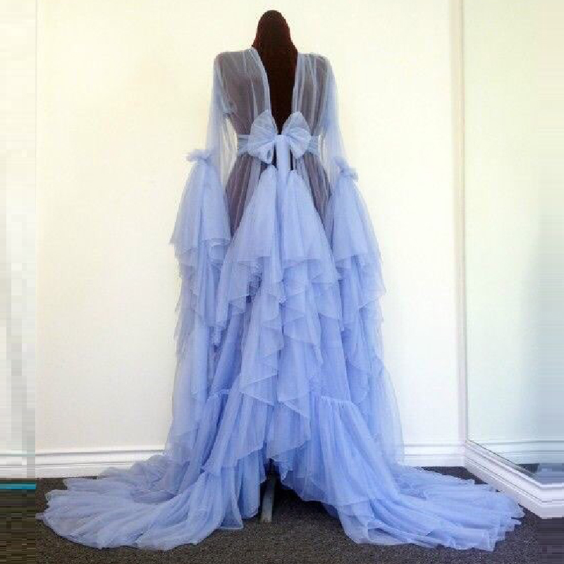 2016 Sexy A Line Transparent Tulle Dress Sarees For Women Fold Abendkleider Lang Tiered Long Sleeve Evening Gowns Dresses Party(China (Mainland))