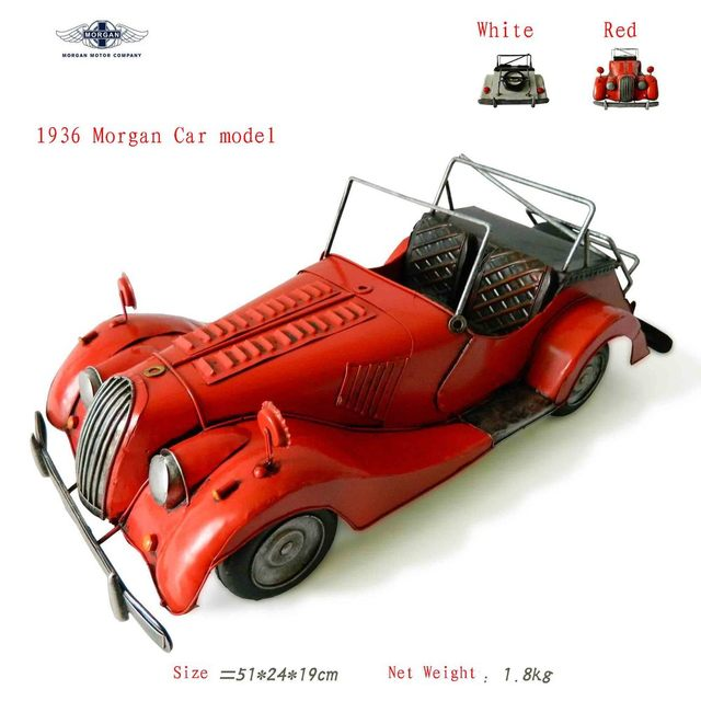 Antique craft 1936 morgan car model handmade craft home decoration bar coffee house display birthday gift