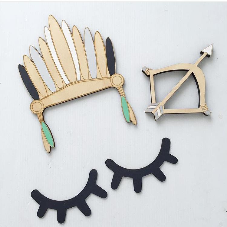 Nordic Style Cute Wood 3D Eyelash Wall Decor Eye lash Wall Stick Children Kids Baby Room Background Wall Sticker Home Decoration