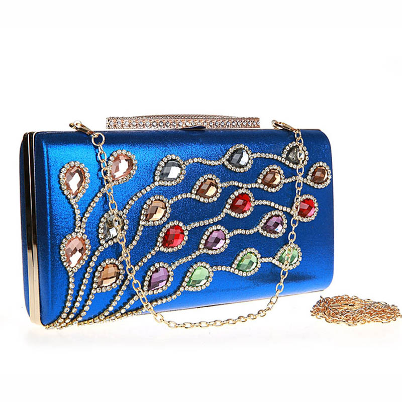 Famous Brand Diamond Evening Clutch Bag Noble Lady Peacock Feather Flower Wedding Party Bags Make Up Pouch Chain Purse XA382H(China (Mainland))
