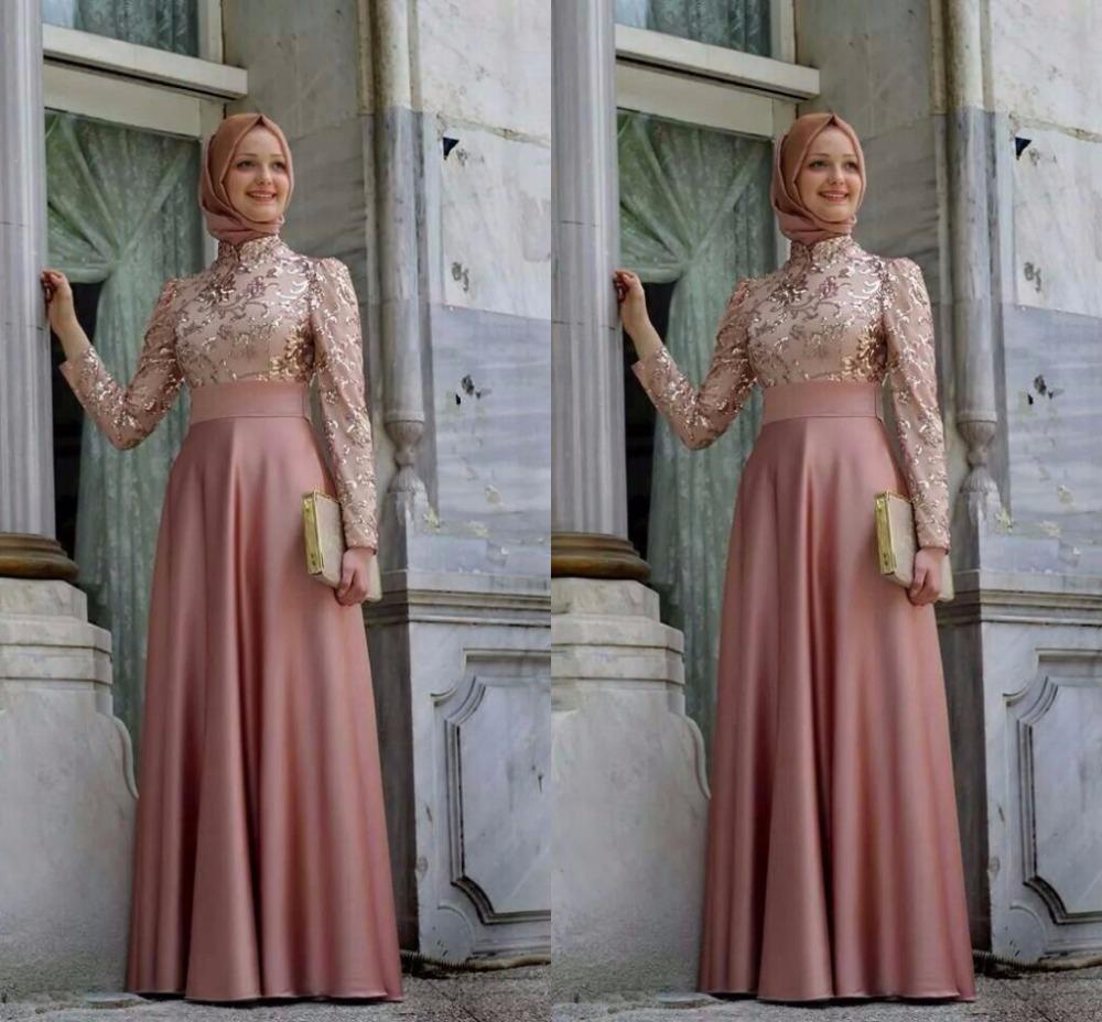 acheter soir e hijab robes col haut manches longues un line parole longueur. Black Bedroom Furniture Sets. Home Design Ideas