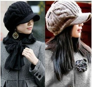New Arrival Peaked Cap Women Hat Winter Caps Knitted Hats For Woman Lady's Headwear Cloth Accessory For female 90008