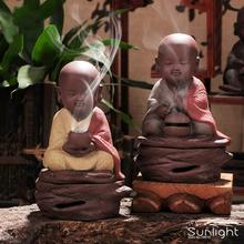 Chinese gift Ceramic incense burner with incense holder Wishing young monk buddha for 5cm Incense coil aromatherapy(China (Mainland))