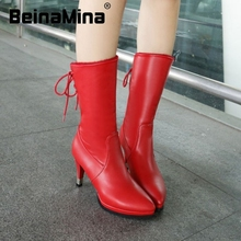 size 34-52 women high heel real genuine leather mid calf boots winter half short boot wedding quality footwear heels shoes R8239(China (Mainland))