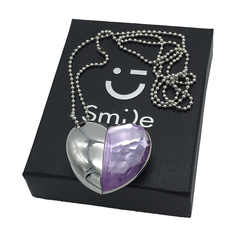 Wholesale Hot Necklace Usb Flash Drive Jewellery Heart Crystal 8GB 16GB 32GB USB 2.0 Flash Memory Drive Stick Pen/Car/Thumb(China (Mainland))