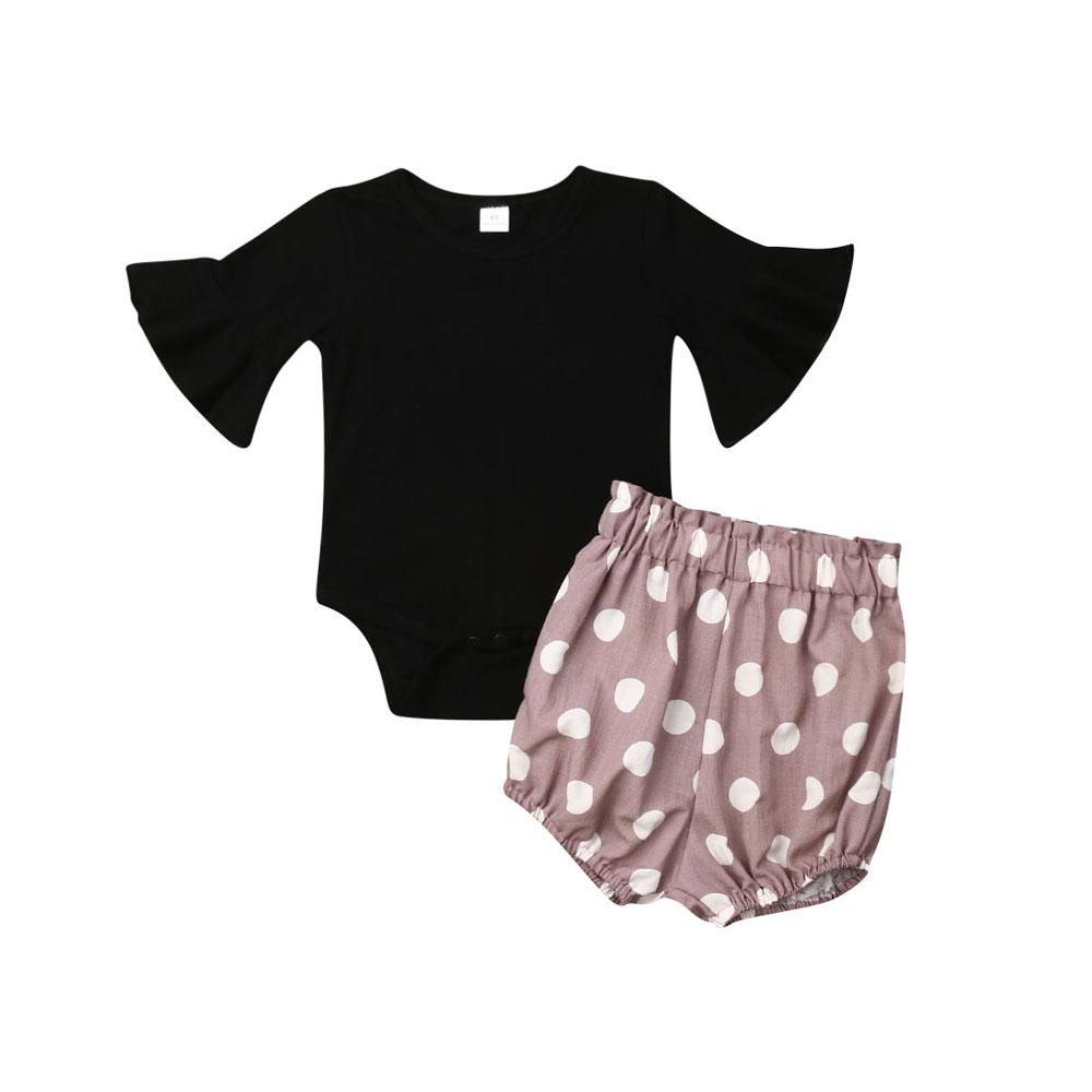 Kinder Mädchen Babykleidung Langarm T-Shirt Hose Trainingsanzug Minnie Gepunktet