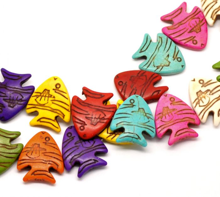 2015 Mixed Tropical Fish Animal(Grade B)Synthetic Howlite Loose Beads Dyed 26x23mm,39cm long,sold per pack of 2 Strands(China (Mainland))
