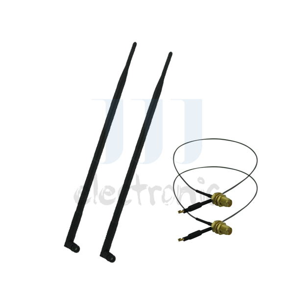 2 9dBi 2.4GHz 5GHz 5.8GHz RP-SMA WiFi Antennas + 2 U.fl Cables for Mod Kit Netgear WNR3500Lv2(China (Mainland))