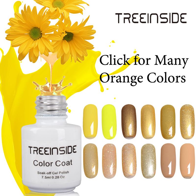 TREEINSIDE 7.5ml Nail Polish Lacquer UV LED Lamp Drying Magic Yellow Color Top Base Coat Needed Soak-off Gel Nail LED UV Gel(China (Mainland))