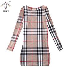 Новое поступление 2015 весна женщины работают износ зима платье женщина с длинным рукавом плед печать Большой размер свободного покроя хай-стрит женские платья