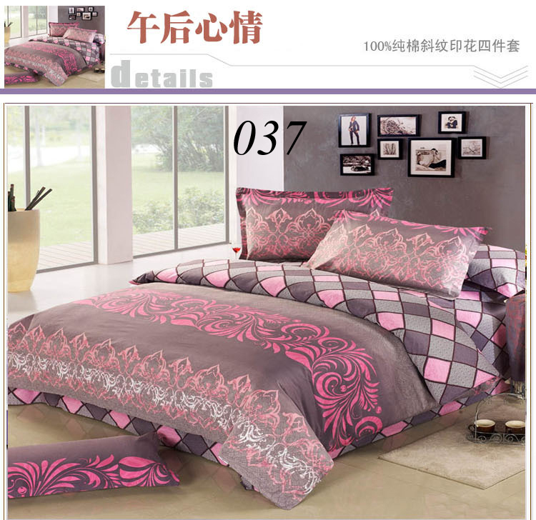 Twin Full Queen King Cotton 4pcs Bedding Sets Bedclothes Set Bed Linens Sheets Quilt Cover Duvet Cover Pillowcase Gray Pattern(China (Mainland))
