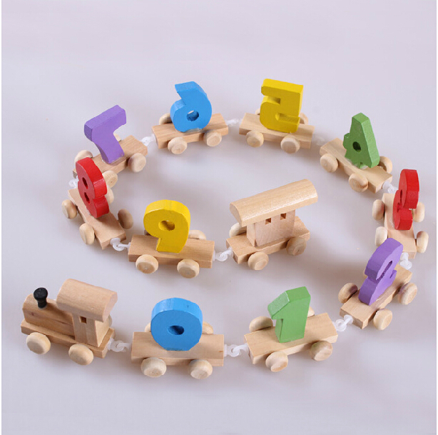1Pcs New Kawaii Intellectual Toy Wooden Train Model Building Kits Enlightment Gift for Children Free Shipping(China (Mainland))
