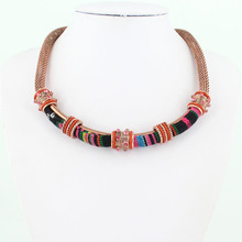 Free Shipping 2014 Hot Sale Women Bohemia Necklaces Style Enamel Beads Choker Chains Statement Necklace Ethnic Vintage Jewelry(China (Mainland))