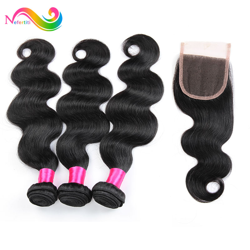 Unprocessed Brazilian Virgin Hair With Closure Rosa Hair Products 4 Bundles With Closure 7A Brazilian Body Wave With Closure