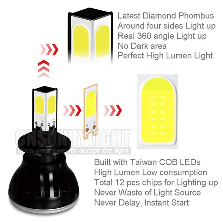 H4 H7 H13 H11 H1 9005 9006 COB LED Headlight 80W 8000LM Super Brigh Car LED Headlights Bulb Head Lamp Fog Light Pure White 6000K (23)