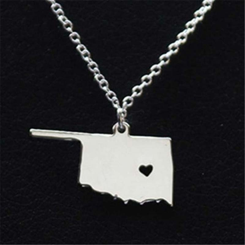 60pcs/lot I Heart Oklahoma Necklace Pendant State Map Necklaces Charm Tiny Jewelry Wholesale<br>