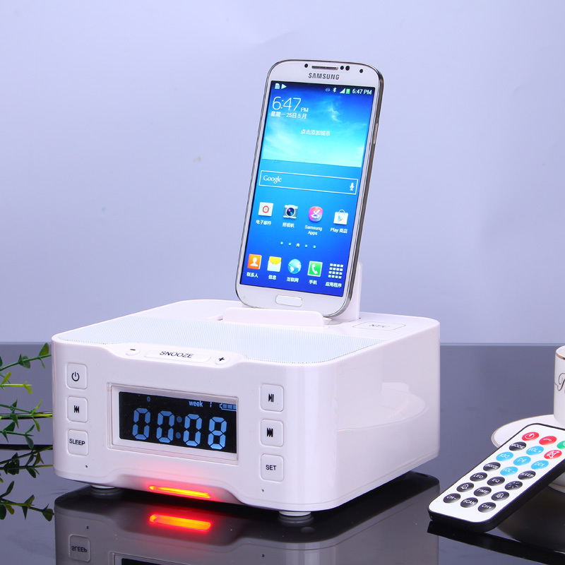 New NFC bluetooth speaker dock station for ipod for iphone samsung with FM Radio NFC lithium battery Double Alarm clock(China (Mainland))
