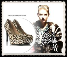 Freeshipping Hot Fashion dress shoes popular leopard women shoes platform Pumps Plus Size Lady Shoes US size 5-10.5 #R027-1(China (Mainland))