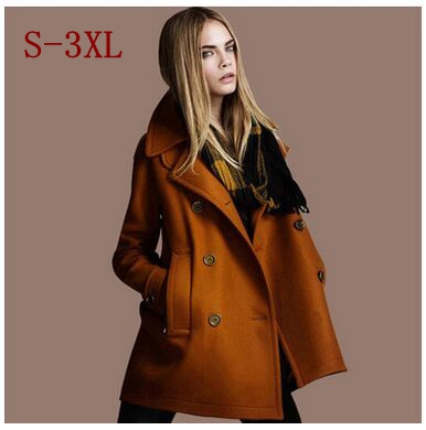 Здесь можно купить  Plus Size 2015 New Winter Coat Women Elegant Coat Atmosphere Are Double Breasted Wool Tweed Coat Solid Collar Manteau Femme  Одежда и аксессуары