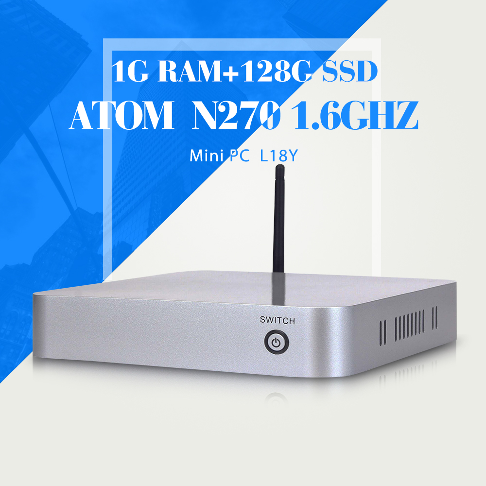 hot selling desktop machine network computer fan industrial pc INTEL ATOM N270 1g ram 128g ssd thin client thin terminal thin pc