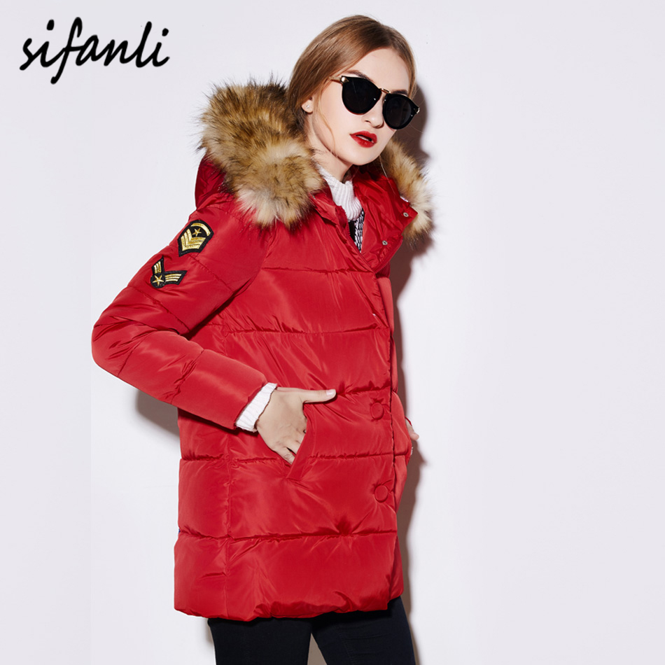 2016 Women Winter Jackets Parka Casual Clothes Fur Collar Medium-Long Thick Hoodies Woman Coat Anorak Cotton Padded Jacket(China (Mainland))