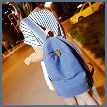 2014 New Canvas shoulder bag Korean female college wind leisure travel backpack Japanese Polka Dot schoolbag