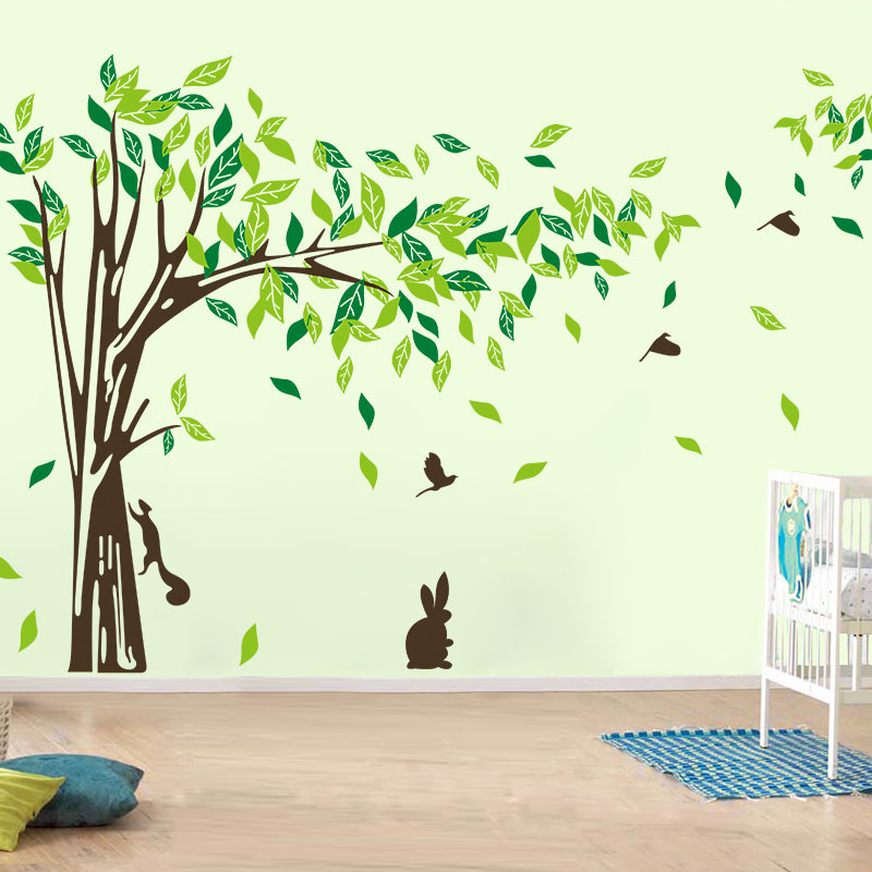Buy large wall decal tree removable green for Tree wall art