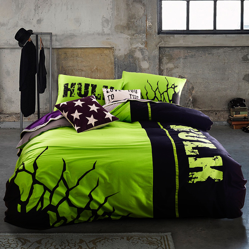 Hulk 100% cotton noctilucent bedding set night luminous conforter duvet cover sheet designer bed sets high quality home textile(China (Mainland))