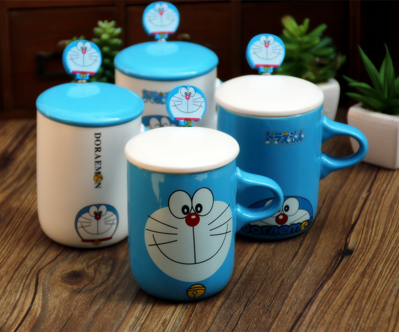 Creative Kawaii Cartoon Novelty Fashion Doraemon Mug With Spoon Summer Cool Drink Milk Coffe Juice water Cup Business Gift BW069(China (Mainland))