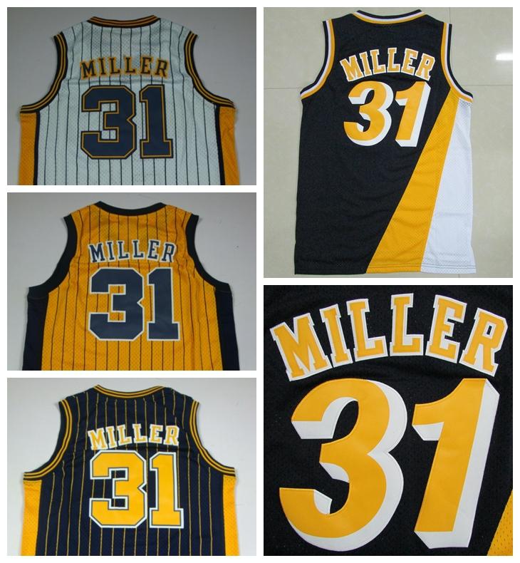 Гаджет  Indiana #31 Reggie Miller Dark Blue  White Yellow Retro Throwback Rev 30 Cheap Basketball jersey Free Shipping None Спорт и развлечения