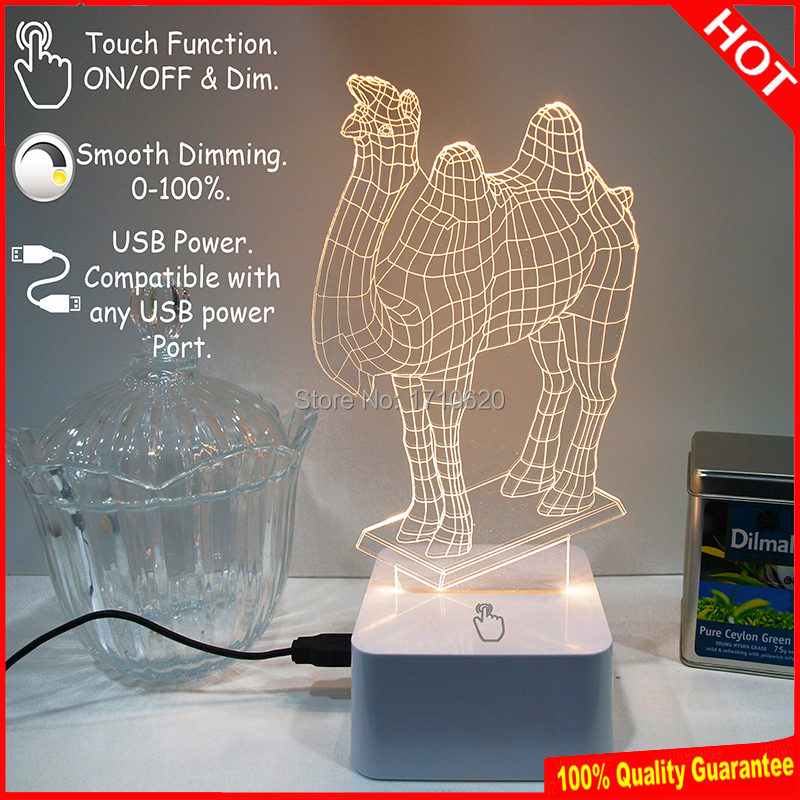 Free Shipping Camel 3D Table Lamp Animail Night Light Baby Room Sleepping Lamp Nursery Light For Kids Room Luminaria De Mesa (China (Mainland))