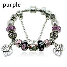 New Design Fashion Murano Beads Heart Charm Bracelets & Bangles Fit Bracelet Making Silver Bracelets for Women Girls(China (Mainland))
