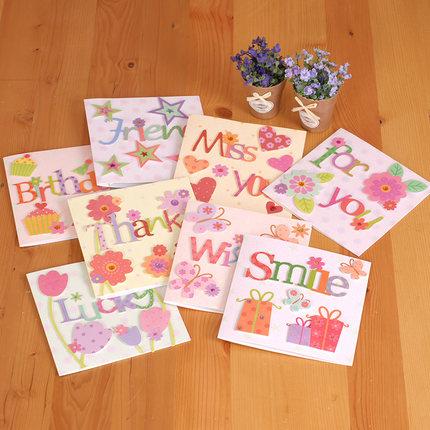 3D printing cute cartoon word birthday invitation decoration card party decoration paper craft 6pcs/lot(China (Mainland))