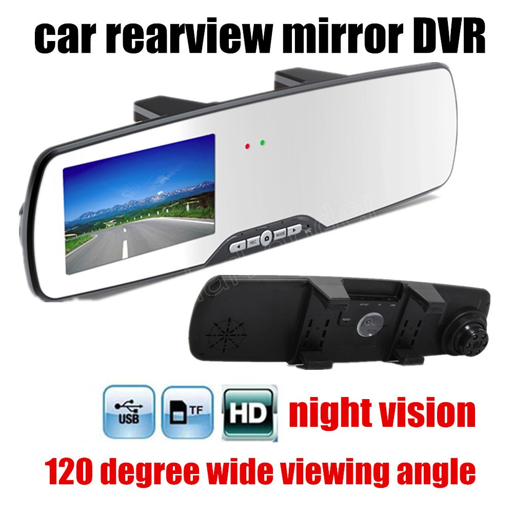 New arrival 2.7 inch HD Car Review Mirror Digital Video Recorder 120 degree Wide Angle Night Vision Motion Detection Car DVR(China (Mainland))