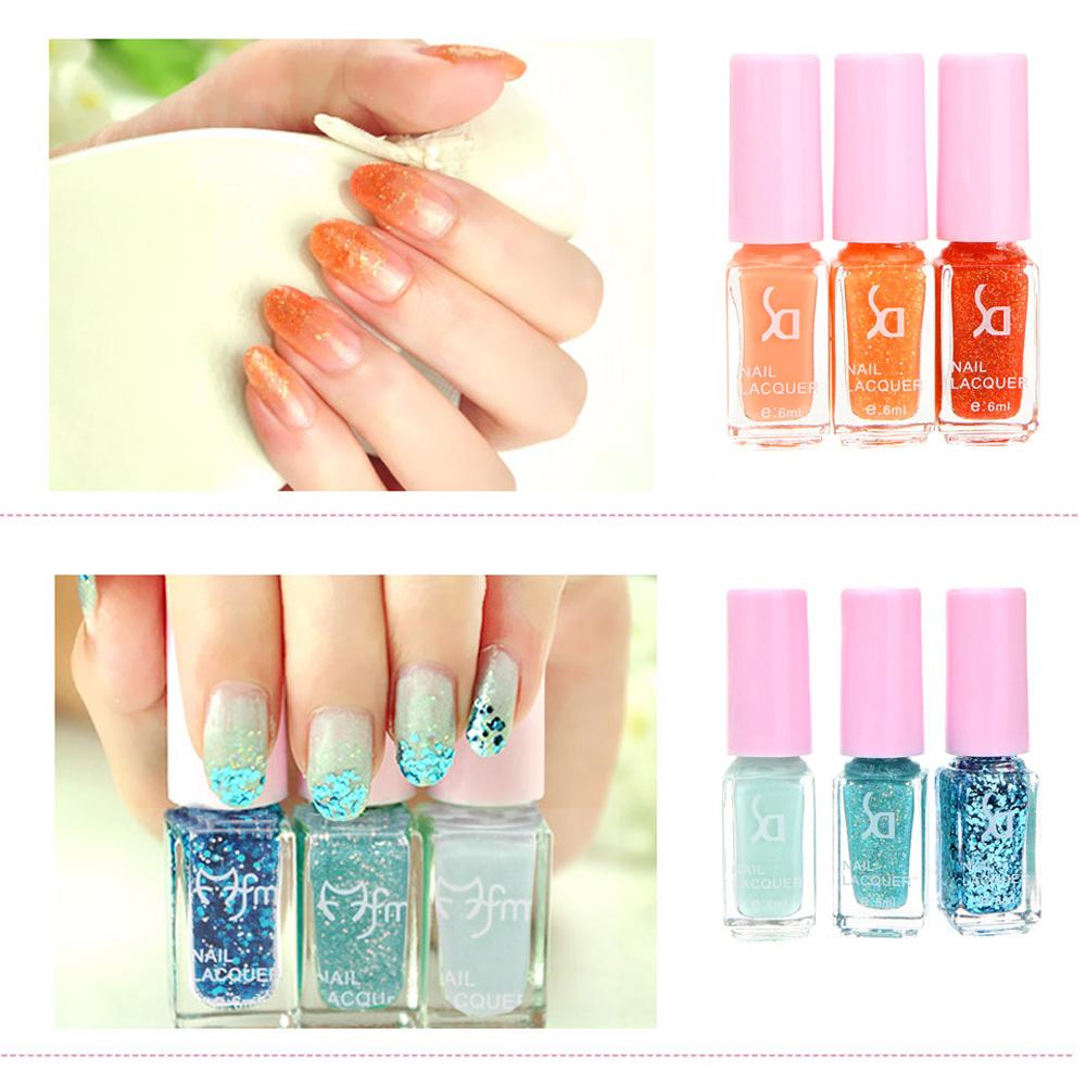 Popular Fashion Magic Three-color Gradient Nail Polish Set Environmental Health Candy Colors Nontoxic Gel Nail Polish For Girls(China (Mainland))