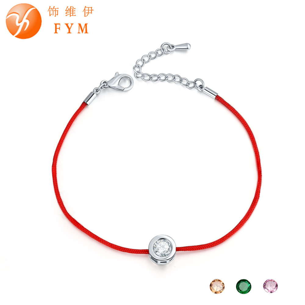 FYM Red Rope Bracelets 9 Colors 6mm Cubic Zircon Round Chain Bracelet for Women Charm Friendship Jewelry Femme Party Wedding(China (Mainland))