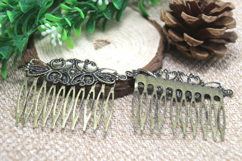 5pcs bronze tone comb shape hair clips 65x45mm(China (Mainland))