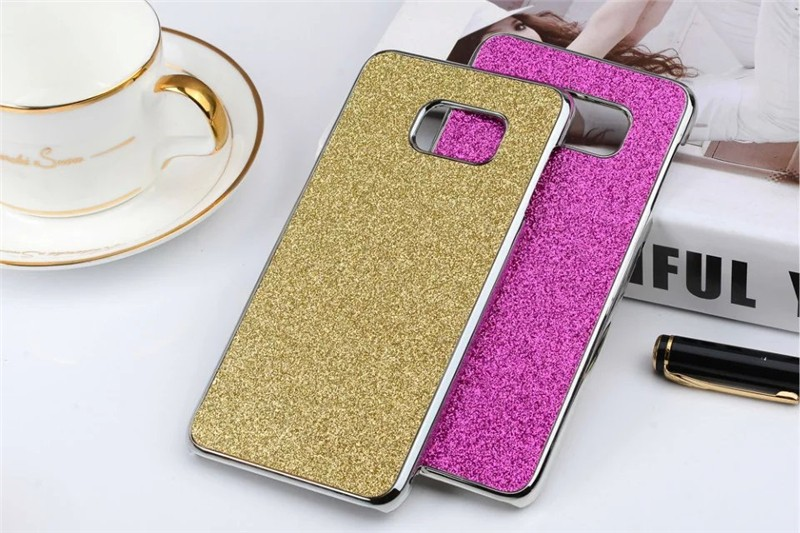 S7 Edge Plastic Plating Bling Shiny Glitter Hard case Cover For Samsung Galaxy S7 Edge 5.5 inch(China (Mainland))