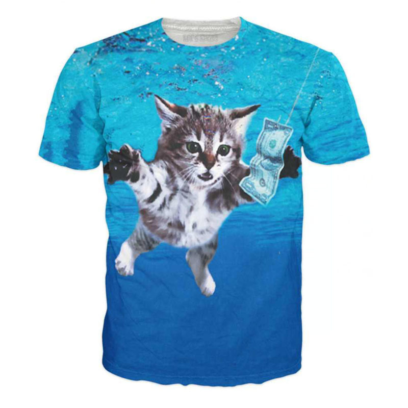 2015 New Arrival New Fashion women/men animal 3d t shirt cat/panda/dog/tiger print short sleeve novely t shirt funny 3d tops(China (Mainland))