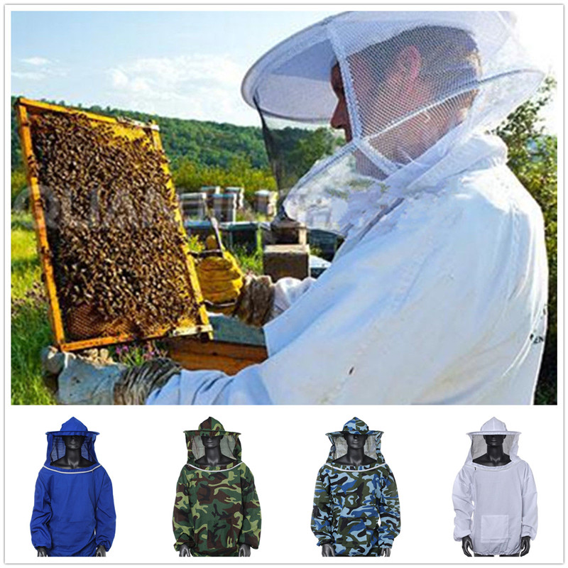 New Arrival High Quality Beekeeping Jacket Veil Smock Equipment Supplies Bee Keeping Hat Sleeve Suit(China (Mainland))