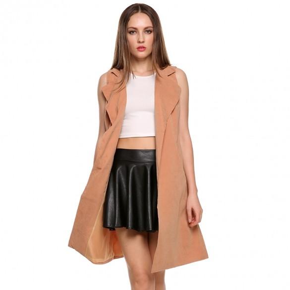 2015 Autumn and Winter New Women Fashion Sleeveless Trench Coat Long Windbreaker Outwear Cardigan Vest Coat 3 Colors