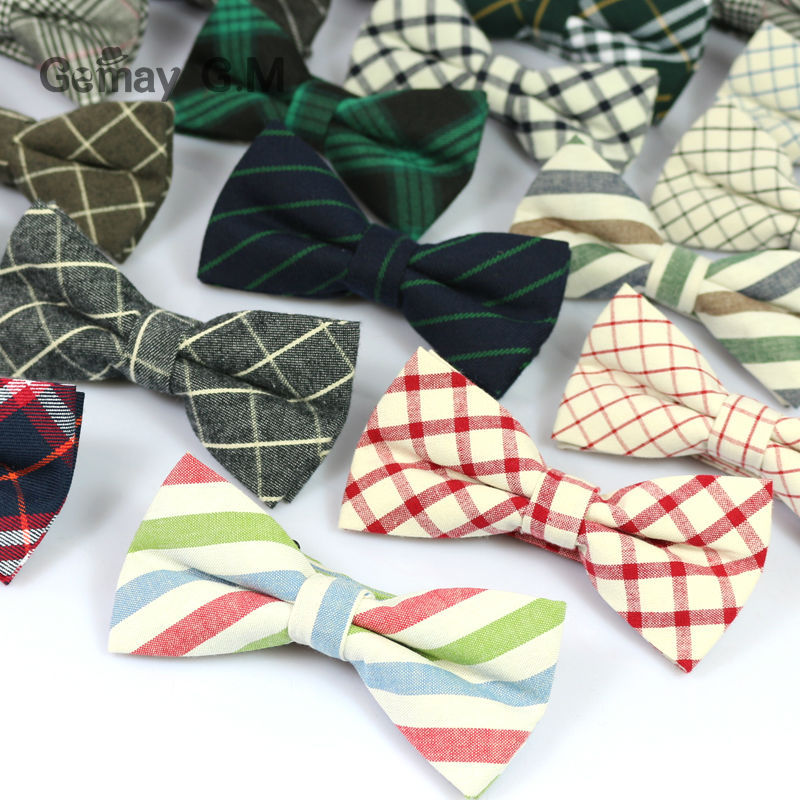 New Men Fashion Classic Plaid Cotton Bowtie Neckwear Adjustable Mens Bow Tie for wedding england style ties(China (Mainland))