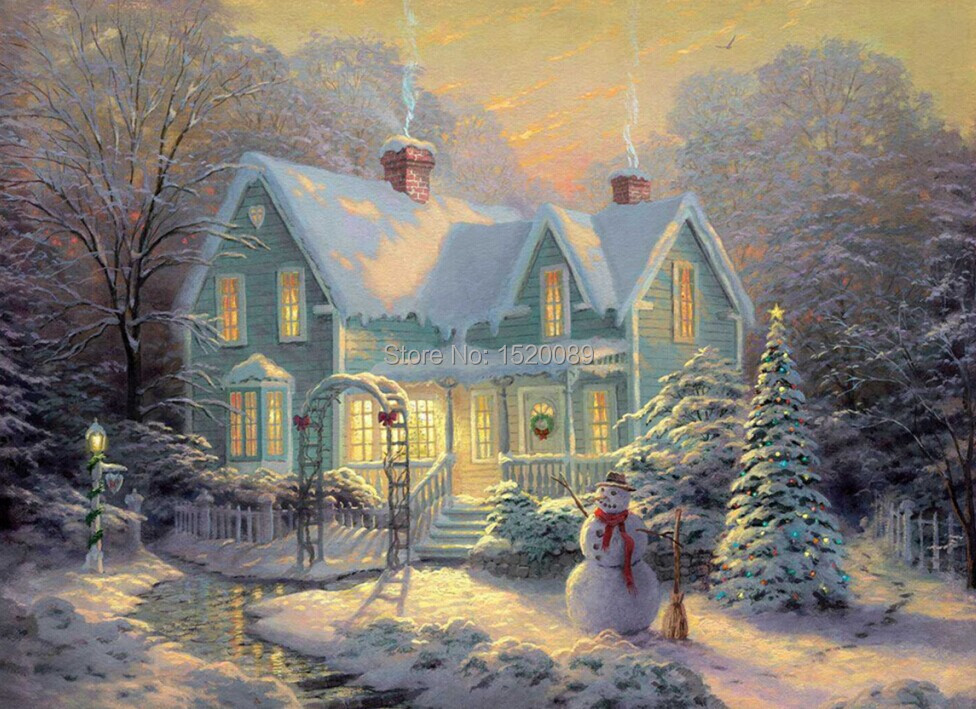 Christmas Winter Snow House LED Lighted Up Canvas Art With